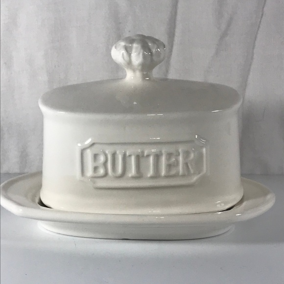 "THL Other - Butter Dish Covered White Stoneware 6"" x 4"" THL"